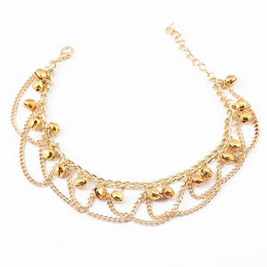 Indian Gold Chain Wavy Drops Tassel Anklets Foot Jewelry