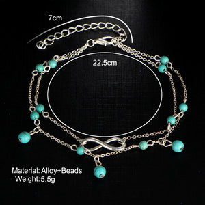 Bohemian Beads Drops Infinity Anklets Foot Jewelry