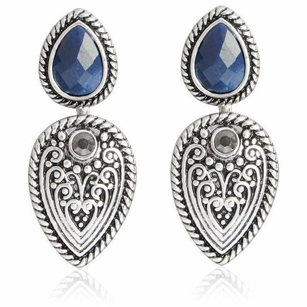 Anqitue Silver Earrings with Gem - Tusker Clothing