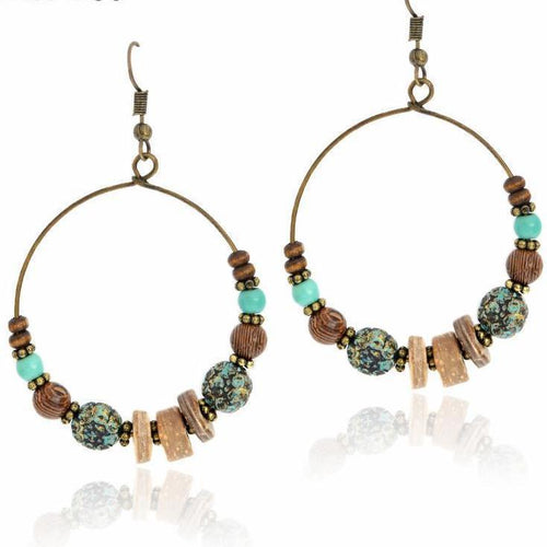 Colorful Beads Dangle Ethnic Earring - Tusker Clothing