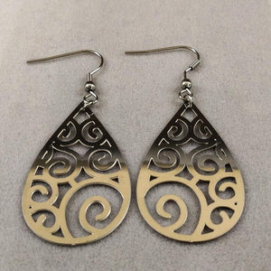Water Drop Long Stainless Steel Ethnic Earring - Tusker Clothing