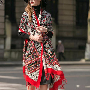 Soft Tibetan Wool High Contrast Body Scarf Shawl - Tusker Clothing
