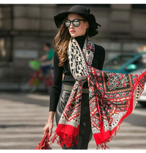 Soft Tibetan Wool High Contrast Body Scarf Shawl