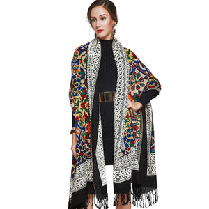 Ethnic Royal Bohemian Plush Wool Body Shawl Scarf - Tusker Clothing