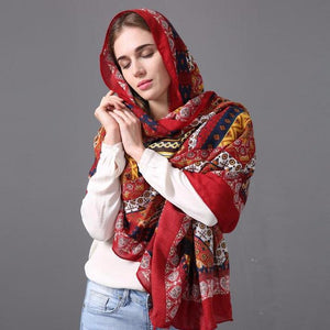 Traditional Ethnic Jaipur Block Satin Body Scarf Shawl - Tusker Clothing
