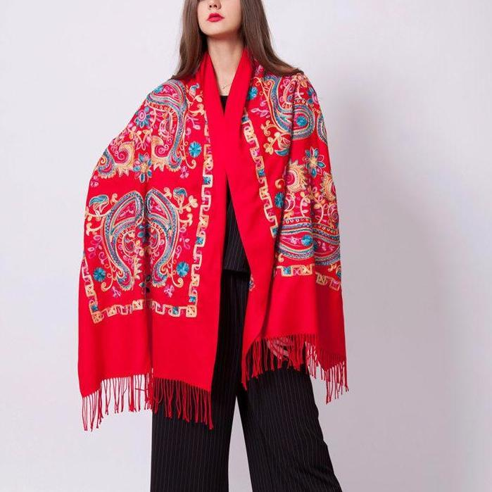 Ethnic Bangalore Red Floral Cotton Scarf Shawl - Tusker Clothing