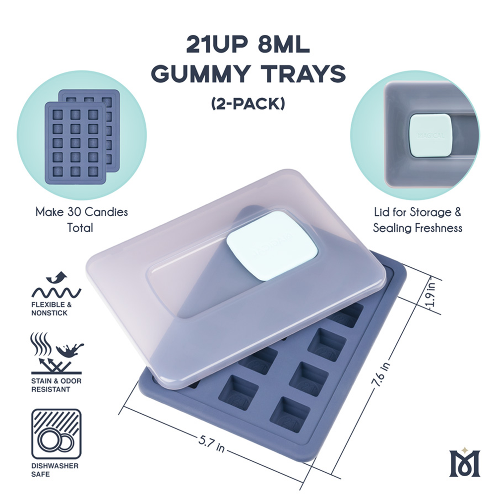 Magical 21UP Square Gummy Molds 8mL (2 Pack)
