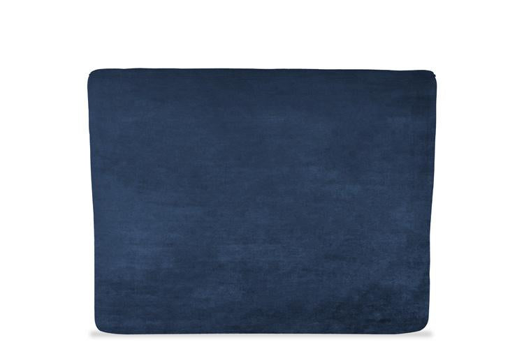 Blue Velvet Ottoman Double Bed - Winged Buttoned Headboard