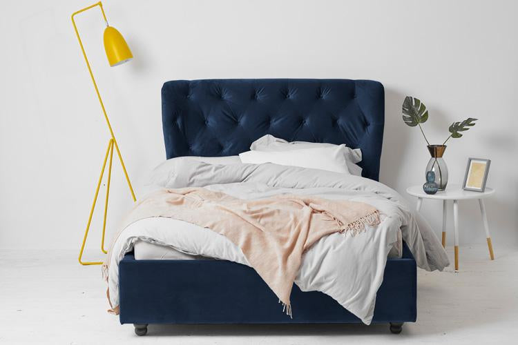 Beds Blue Velvet Ottoman Double Bed - Winged Buttoned Headboard