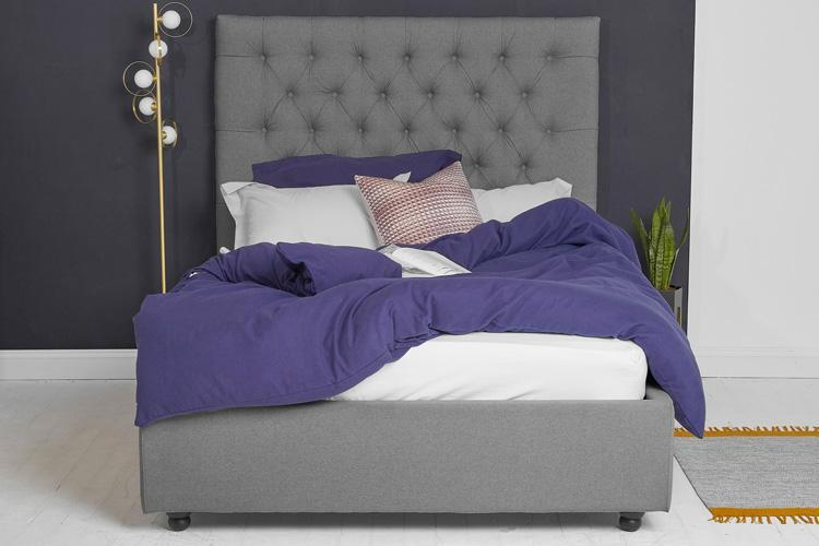 Beds Double Ottoman Bed in Dark Grey Fabric, Tall Buttoned Headboard
