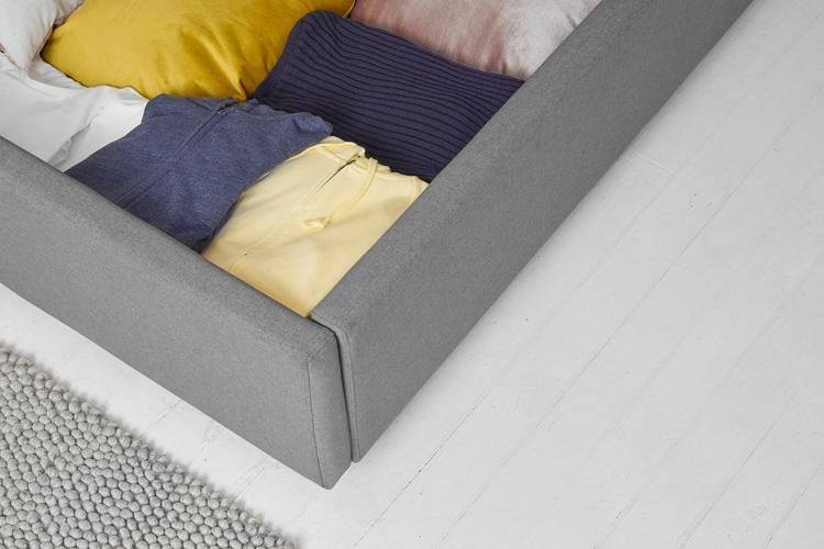 Double Ottoman Bed in Dark Grey Fabric, Tall Buttoned Headboard