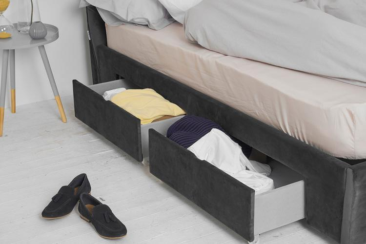 Grey Velvet 4 Drawer Bed - Plain Double