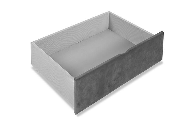 Grey Velvet 4 Drawer Bed - Winged King