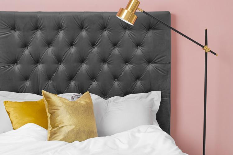 Grey Velvet Bed - Buttoned Double