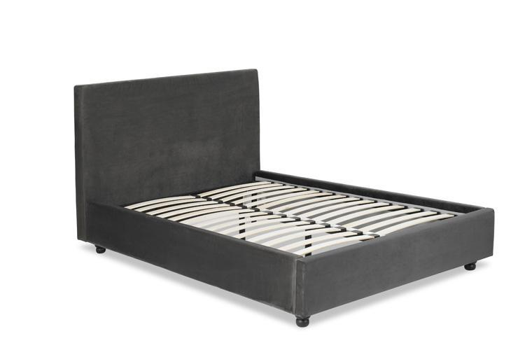Grey Velvet Bed - Plain Double