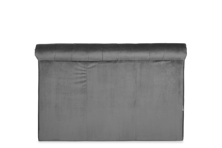 Grey Velvet Bed - Scroll Double