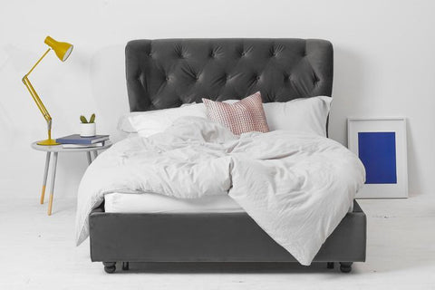 Grey Velvet Fabric Bed - Winged King
