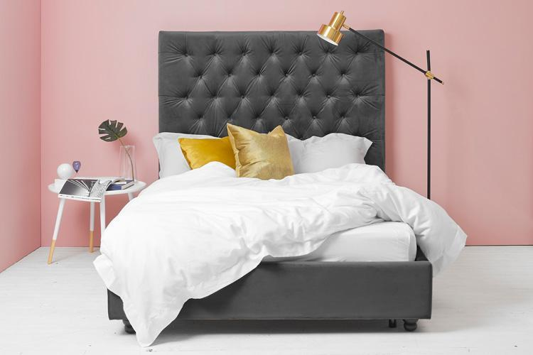 Miraculous Ottoman Bed King Size With Grey Velvet Buttoned Headboard Pabps2019 Chair Design Images Pabps2019Com