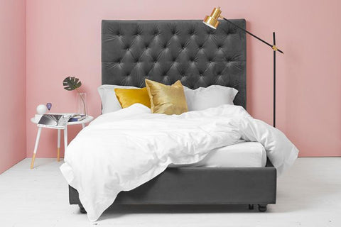 Ottoman Bed, King Size with Grey Velvet Buttoned Headboard
