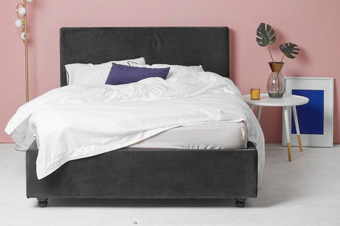 Grey Velvet Fabric Ottoman Bed - Plain King