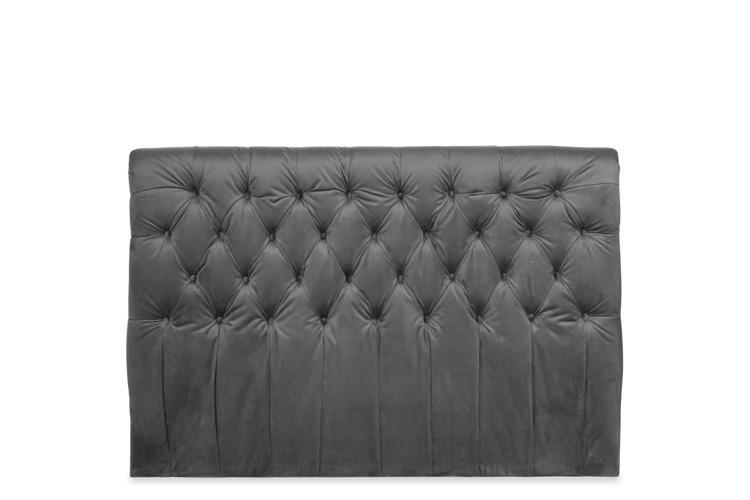 Grey Velvet Ottoman Bed - Scroll Double