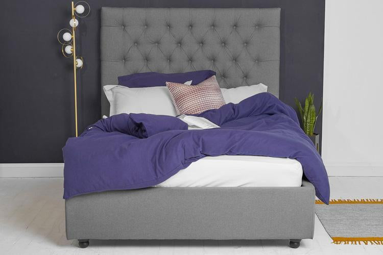 Beds King Ottoman Storage Bed in Dark Grey Fabric