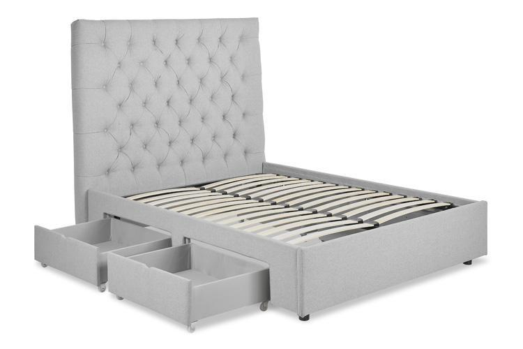 Light Grey Fabric 4 Drawer Bed - Buttoned Double