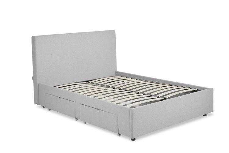 Light Grey Fabric 4 Drawer Bed - Plain King