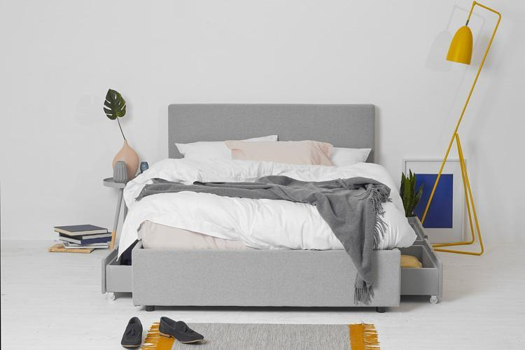 Beds King Size 4 Drawer Storage Bed, Grey Fabric, Plain Headboard