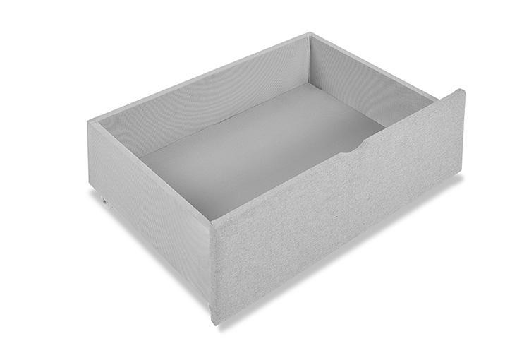 Light Grey Fabric 4 Drawer Bed - Scroll King
