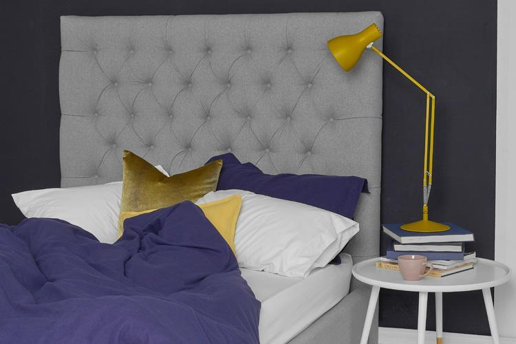Light Grey Fabric Bed - Buttoned Double