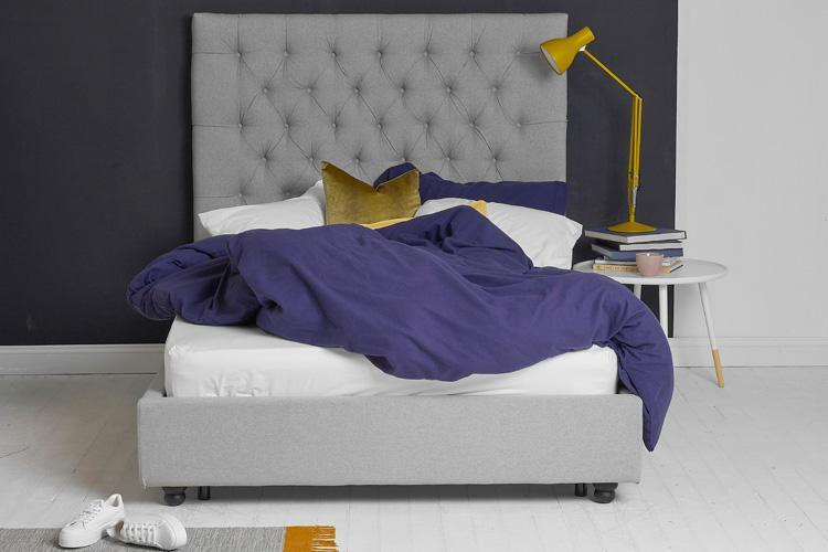 Light Grey Fabric Bed - Buttoned King