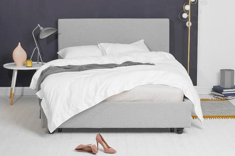 Grey Fabric Bed - Plain Double