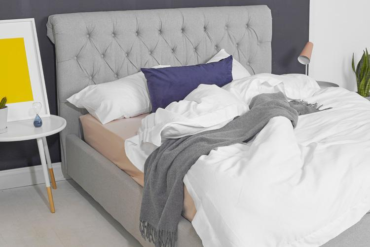 Light Grey Fabric Bed - Scroll Double