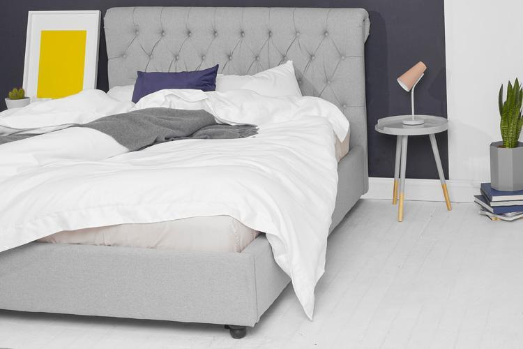 Light Grey Fabric Bed - Scroll King