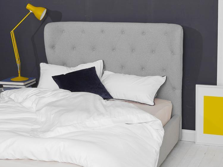 Light Grey Fabric Bed - Winged King