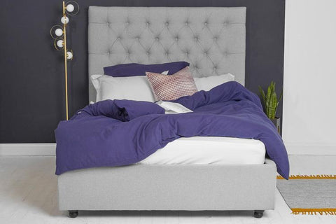 Ottoman Bed, Double Size with Grey Fabric Buttoned Headboard