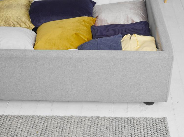 Light Grey Fabric Ottoman Bed - Buttoned Double