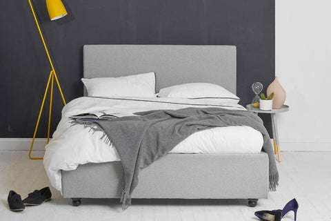 Ottoman Storage Bed, King Size with Grey Fabric Plain Headboard