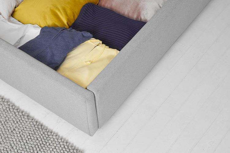 Light Grey Fabric Ottoman Bed - Scroll Double