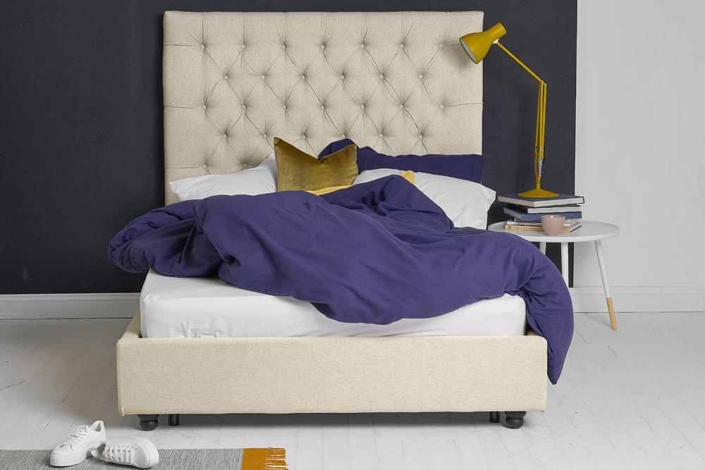 Beds Ottoman Bed, Double Size with Oatmeal Fabric Tall Buttoned Headboard