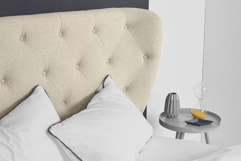 Ottoman Bed, Double Size with Oatmeal Fabric Winged Buttoned Headboard