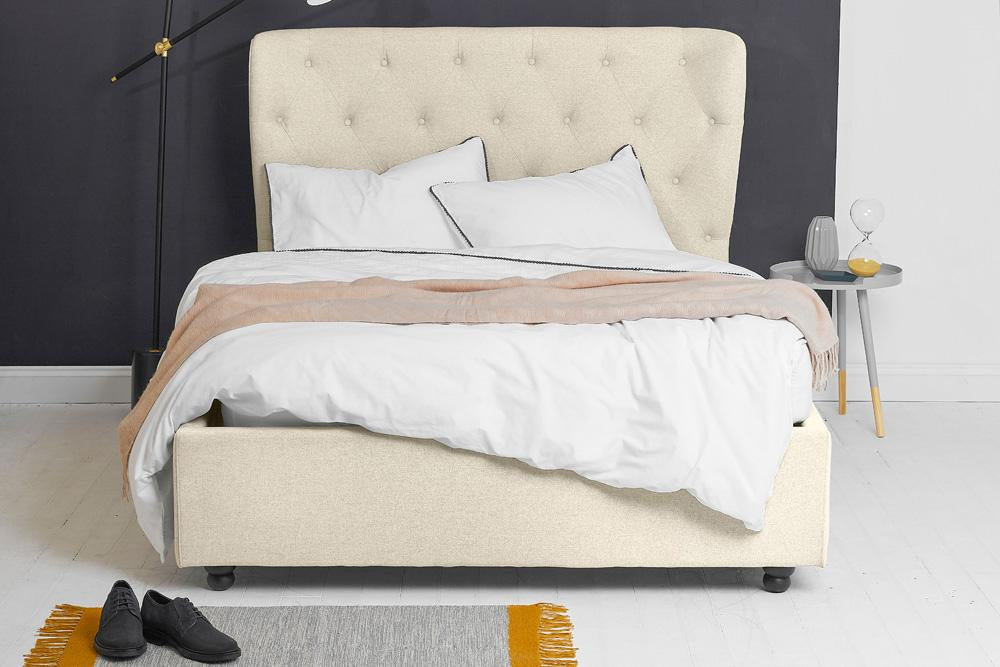 Beds Ottoman Bed, Double Size with Oatmeal Fabric Winged Buttoned Headboard