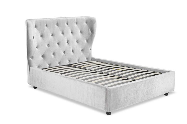 Silver Crushed Velvet Ottoman Bed - Winged Double