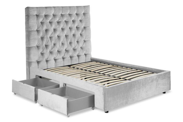 Silver Velvet 4 Drawer Bed - Buttoned Double