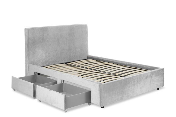 Silver Velvet 4 Drawer Bed - Plain King