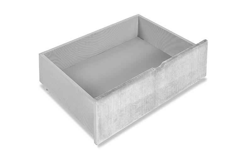 Silver Velvet 4 Drawer Bed - Scroll King