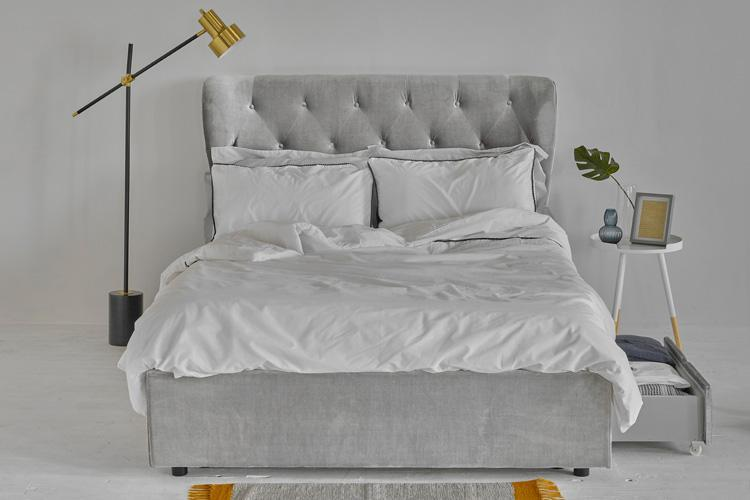 Silver Velvet 4 Drawer Bed - Winged Double
