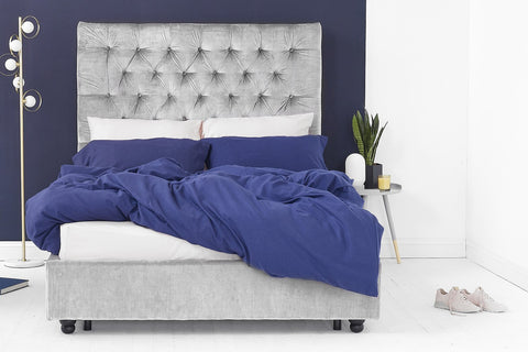 Silver Velvet Fabric Bed - Buttoned Double