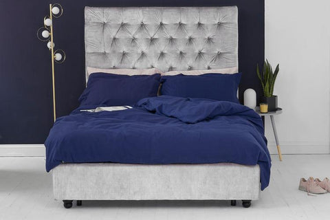 Silver Velvet Fabric Bed - Buttoned King
